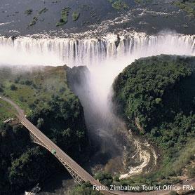 Die Viktoriafälle in Zimbabwe