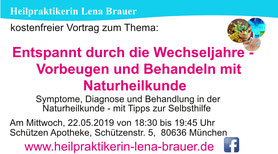 Vortrag Wechseljahre Naturheilkunde Natürliche Hormontherapie  München Heilpraktikerin Lena Brauer