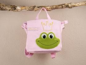 Tasche, Canvas, personalisiert, Frosch, Krone, Kindergarten