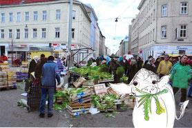 Illustration / Collage für 'Das Ottakringding' von Johanna Müller, in dem die Kuh Yvonne von unterschiedlichen Bewohnern gedanklich durch den 16. Wiener Bezirk geschickt wird und allerhand erlebt.