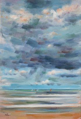 CIEL ET MER (huile sur toile) 55 x 33 cm JF.Millan (collection privée)