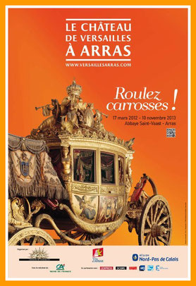 """Illustration taxi et VTC : affiche expo Arras Versailles """"Roulez Carrosse"""" Musée des Beaux Arts Arras"""