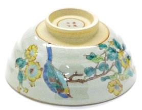 九谷焼通販 おしゃれな飯碗 茶碗 ご飯茶碗 小 金糸梅に鳥 小槌付き 正面の図