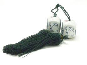 九谷焼通販 おしゃれ 風鎮 掛け軸小物 床の間 白兎ソメイヨシノ 松梅桜 六角