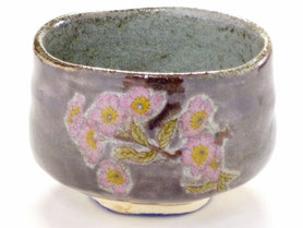 九谷焼通販 おしゃれな抹茶茶碗 抹茶碗 茶道具 ソメイヨシノ紫塗り 正面の図