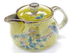 九谷焼通販 おしゃれな急須 茶器 ティーポット 大 黄塗り 金糸梅に鳥 裏絵