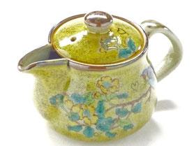 九谷焼通販 おしゃれな急須 茶器 ティーポット 小 黄塗り金糸梅に鳥『裏絵』正面の図