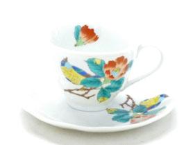 母の日 ギフト 九谷焼通販 おしゃれ カップ&ソーサー コーヒーカップ 椿に鳥 裏絵