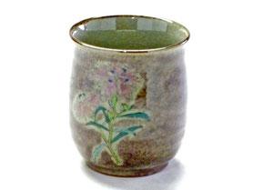 九谷焼通販 おしゃれなお湯呑 湯飲み ゆのみ茶碗 大 なでしこ 紫塗り 裏絵
