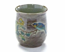 九谷焼通販 おしゃれなお湯呑 湯飲み ゆのみ茶碗 大 金糸梅に鳥 紫塗り 裏絵