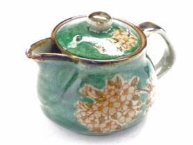 九谷焼通販 おしゃれな急須 茶器 ティーポット 大 しだれ桜緑塗り