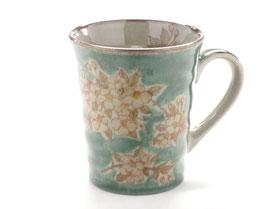 九谷焼通販 おしゃれなマグカップ マグ しだれ桜 緑塗り 中絵 正面の図