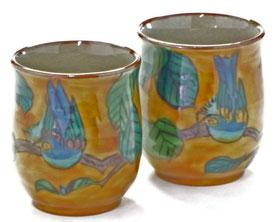 九谷焼通販 おしゃれなお湯呑 湯飲み ゆのみ茶碗 ペア 夫婦湯呑 濃い塗り花鳥 裏絵