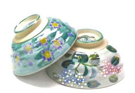 九谷焼飯碗 茶碗 ペア グリーン地桜&がく紫陽花ピンク+ブルー 裏絵