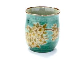 九谷焼通販 おしゃれなお湯呑 湯飲み ゆのみ茶碗 大 しだれ桜緑塗り 裏絵