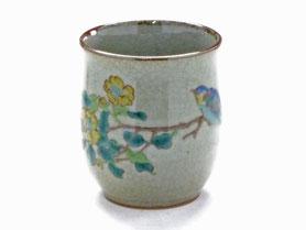 九谷焼通販 おしゃれなお湯呑 湯飲み ゆのみ茶碗 小 金糸梅に鳥 裏絵