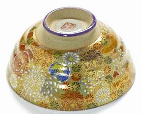 九谷焼通販 おしゃれな飯碗 茶碗 ご飯茶碗 大 加賀のお殿様・お姫様気分(金花詰)