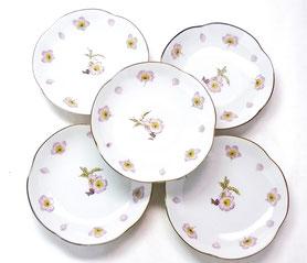 九谷焼通販 おしゃれ 皿揃え 小皿 ソメイヨシノ 4寸梅型 裏絵