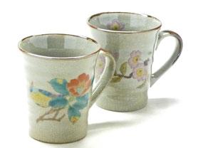 九谷焼通販 おしゃれなマグカップ マグ ペア セット 椿に鳥&ソメイヨシノ 裏絵 正面の図