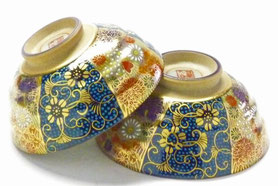 九谷焼通販 おしゃれな飯碗 ご飯茶碗 ペア 青粒+金花詰
