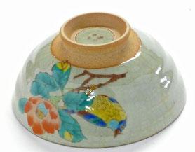 九谷焼通販 おしゃれな飯碗 茶碗 ご飯茶碗 小 椿に鳥 正面の図