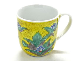 九谷焼通販 おしゃれなマグカップ マグ 磁器 吉田屋万年青『裏絵』正面の図