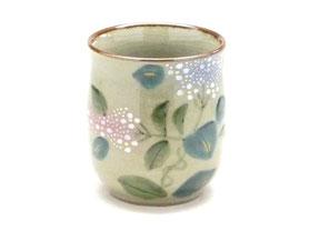 九谷焼通販 おしゃれなお湯呑 湯飲み ゆのみ茶碗 大 がく紫陽花 裏絵