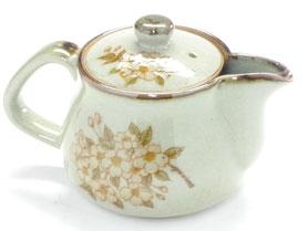 九谷焼通販 おしゃれな急須 茶器 ティーポット 小 しだれ桜 左利き様用 正面の図