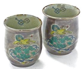 九谷焼通販 おしゃれなお湯呑 湯飲み ゆのみ茶碗 ペア 夫婦湯呑 宝尽くし紫塗り 裏絵