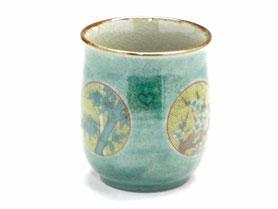 九谷焼通販 おしゃれなお湯呑 湯飲み ゆのみ茶碗 大 丸紋松竹梅緑塗り 裏絵