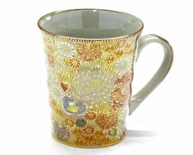 九谷焼通販 おしゃれなマグカップ マグ 加賀のお殿様・お姫様キブン(金花詰)『裏絵』正面の図
