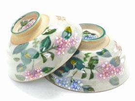 九谷焼通販 おしゃれな飯碗 ご飯茶碗 ペア がく紫陽花 正面の図