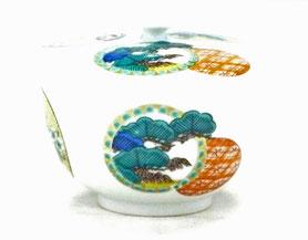 九谷焼通販 おしゃれ 蓋付湯呑 ゆのみ茶碗 幸 丸紋松竹梅