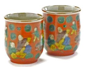 九谷焼通販 おしゃれなお湯呑 湯飲み ゆのみ茶碗 ペア 夫婦湯呑 木米写し 裏絵