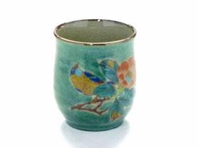 九谷焼通販 おしゃれなお湯呑 湯飲み ゆのみ茶碗 小 椿に鳥緑塗り 裏絵