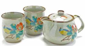 九谷焼『茶器・急須・ティーポット3点セット』大 椿に鳥 裏絵