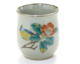 九谷焼通販 おしゃれなお湯呑 湯飲み ゆのみ茶碗 大 椿に鳥 裏絵