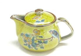 九谷焼通販 おしゃれな急須 茶器 ティーポット 大 黄塗り金糸梅に鳥『裏絵』正面の図