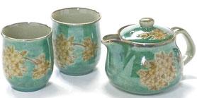 九谷焼 急須 茶器 ポット 3点セット しだれ桜 緑塗り