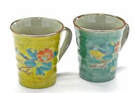 九谷焼通販 おしゃれなマグカップ マグ ペア セット  椿に鳥黄色塗り&緑塗り 裏絵 正面の図