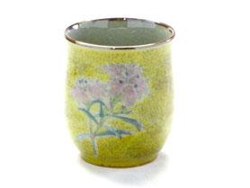九谷焼通販 おしゃれなお湯呑 湯飲み ゆのみ茶碗 小 なでしこ黄色塗り 裏絵