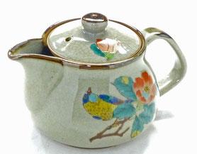 九谷焼通販 おしゃれな急須 茶器 ティーポット 大 椿に鳥『裏絵』正面の図