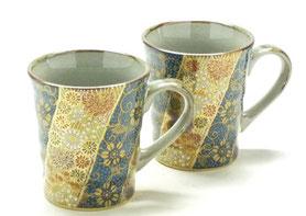 九谷焼通販 おしゃれなマグカップ マグ ペア セット 青粒+金花詰 裏絵 正面の図