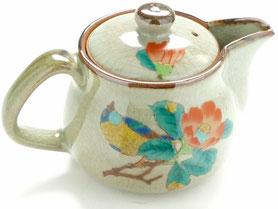 九谷焼通販 おしゃれな急須 茶器 ティーポット 小 左利き様用  椿に鳥『裏絵』正面の図