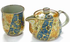 九谷焼通販 おしゃれな急須 茶器 お茶の間2点セット 小 青粒+金花詰『裏絵』正面の図