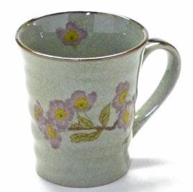 九谷焼通販 おしゃれなマグカップ マグ ソメイヨシノ『中裏絵』正面の図