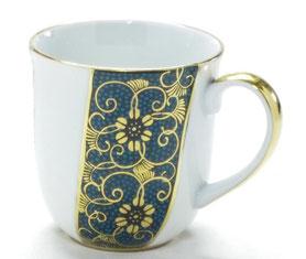 九谷焼通販 おしゃれなマグカップ マグ 磁器 本金 青粒 正面の図