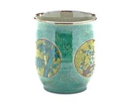 九谷焼通販 おしゃれなお湯呑 湯飲み ゆのみ茶碗 小 丸紋 松竹梅 緑塗り 裏絵