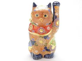 九谷焼通販 おしゃれ 縁起物 招き猫 デコ盛 8号 正面の図