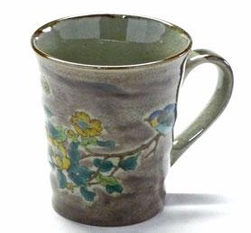 九谷焼通販 おしゃれなマグカップ マグ 金糸梅に鳥紫塗り『裏絵』正面の図